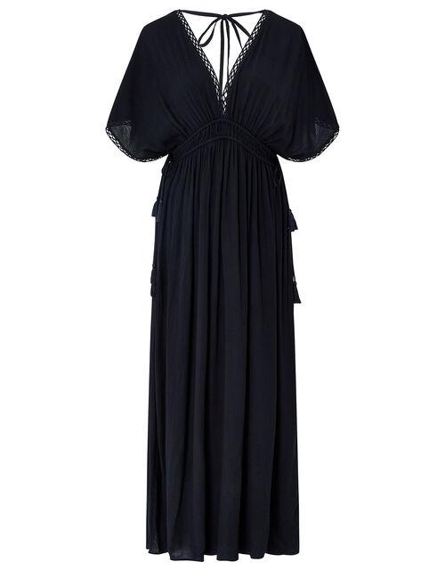 Lace Trim Maxi Dress, Black (BLACK), large