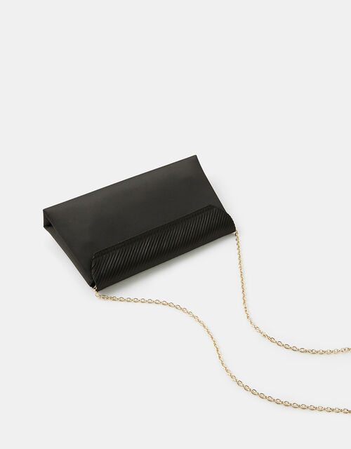 Pleated Satin Clutch Bag, Black (BLACK), large