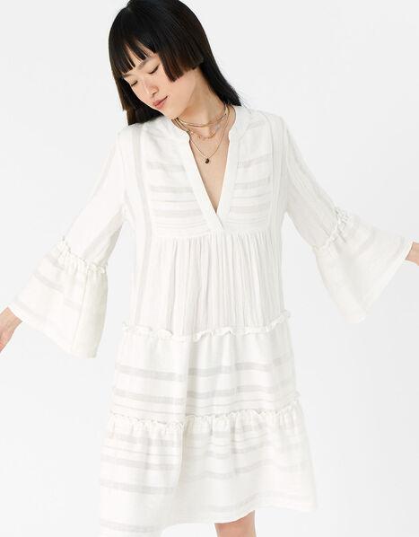 Jacquard Flute Sleeve Dress  White, White (WHITE), large