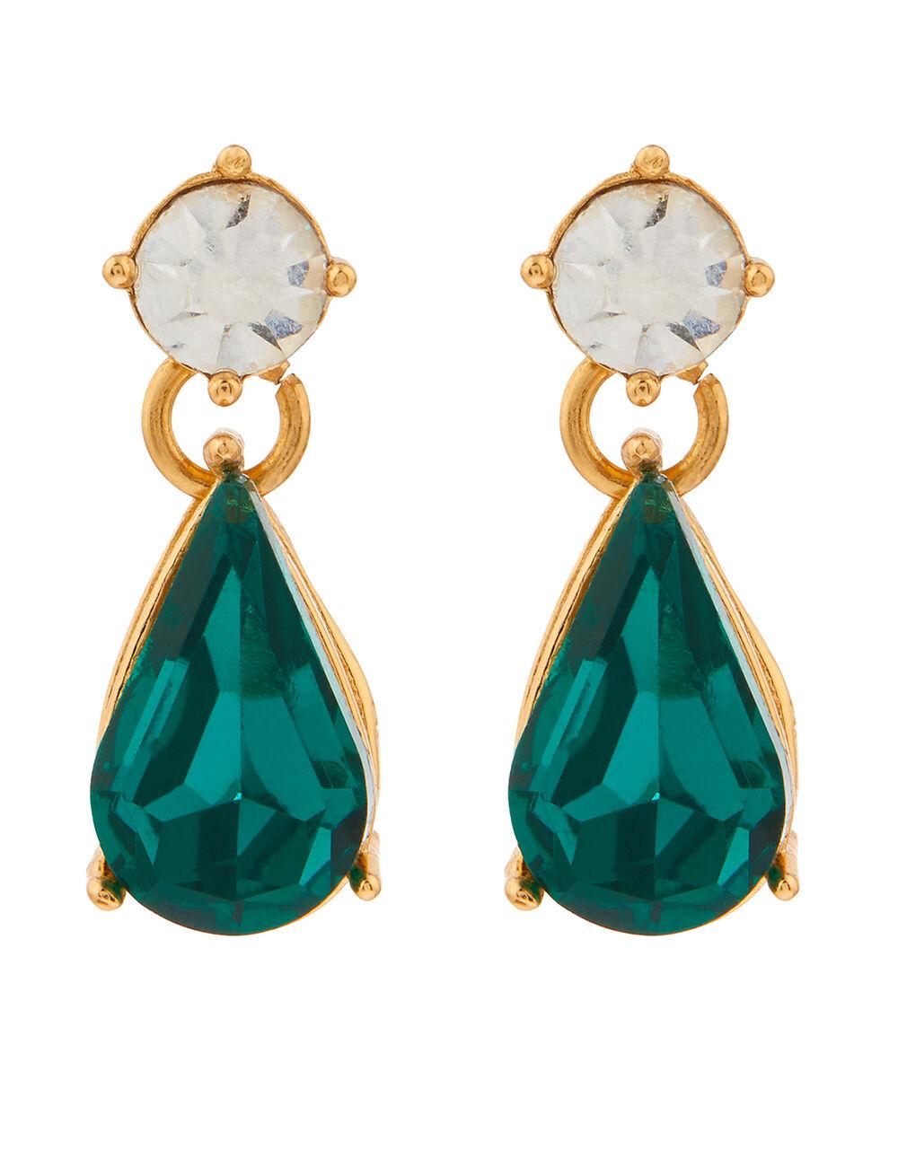 Mini Kylie Gem Drop Earrings, Green (GREEN), large