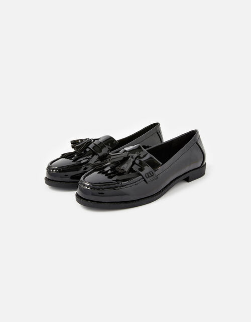 Patent Fringe Loafers, Black (BLACK), large