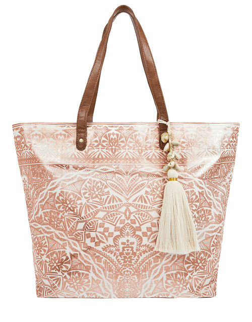 Kea Metallic Print Beach Tote Bag, , large