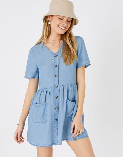 Chambray Mini Dress Blue, Blue (BLUE), large