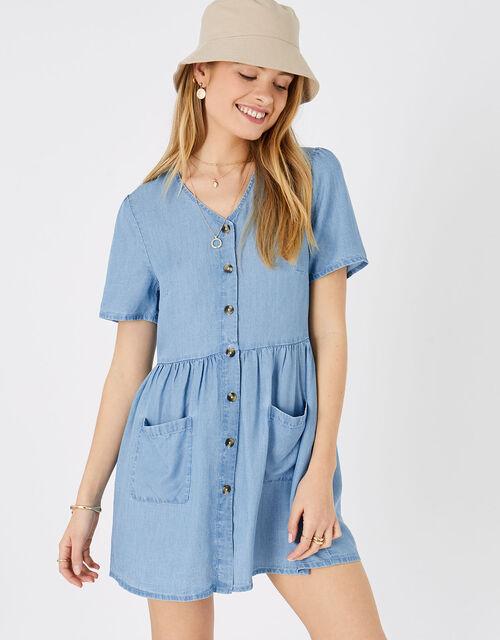 Chambray Mini Dress, Blue (BLUE), large
