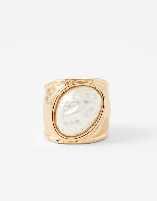 Chunky Hammered Pearl Ring, Cream (PEARL), large