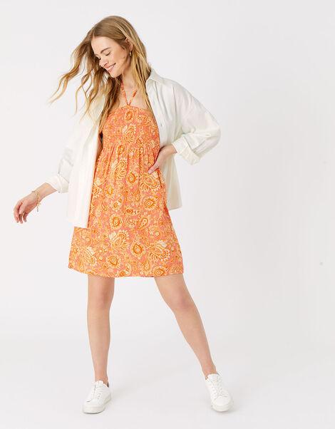 Paisley Print Bandeau Dress Orange, Orange (RUST), large