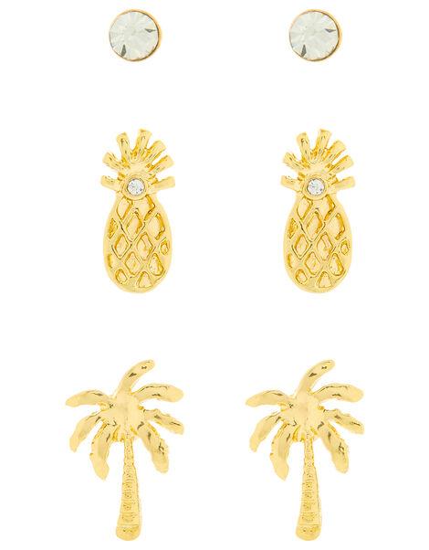 Pineapple and Coconut Tree Stud Earring Set, , large