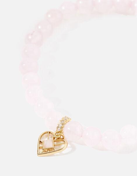 Rose Quartz Stone Pendant Bracelet, , large