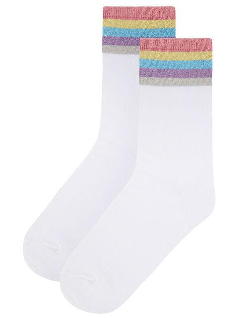 Sparkle Rainbow Cuff Ankle Socks, , large