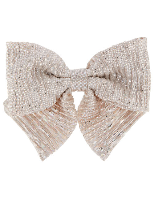 Metallic Shimmer Bow Barette, , large