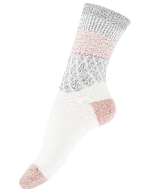 Sparkle Fair Isle Thermal Boot Socks, , large