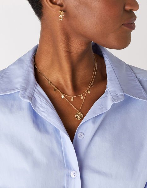Droplet Pendant Layered Necklace, , large