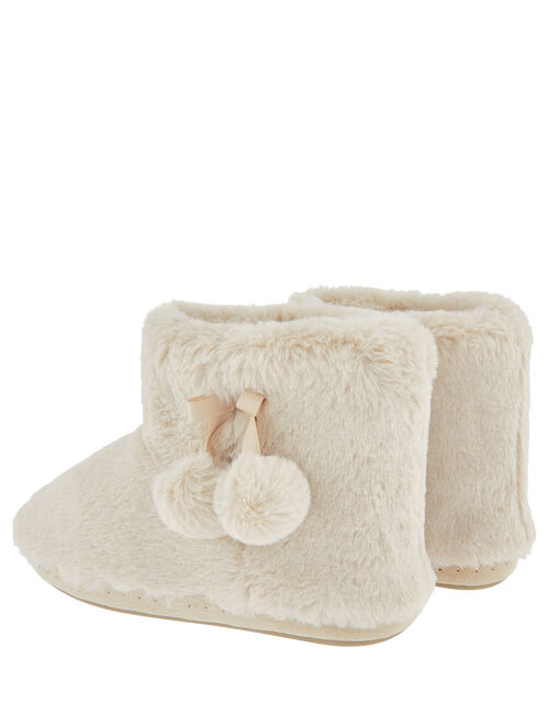 Fluffy Pom-Pom Slipper Boots, Cream (CREAM), large