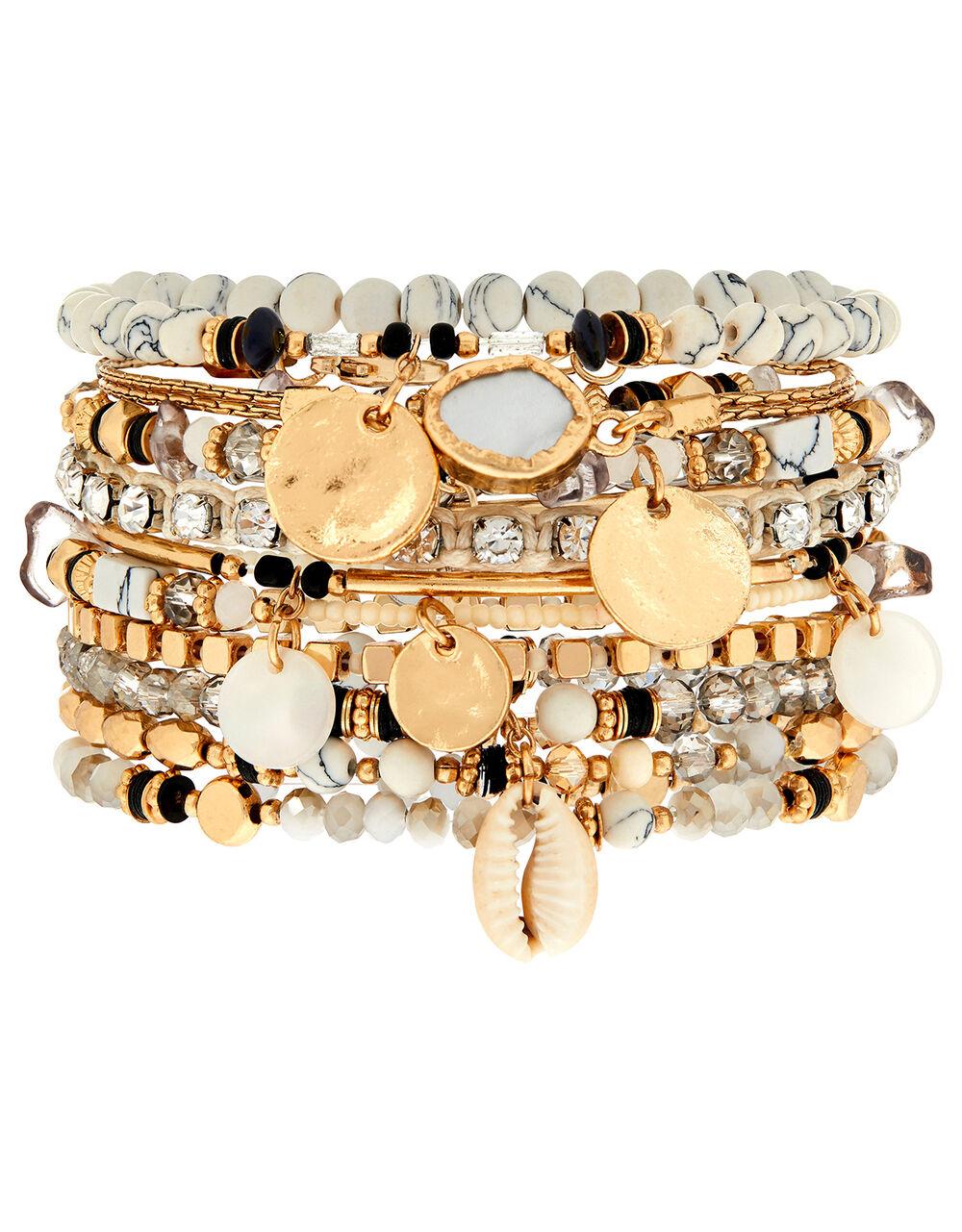Shell and Sparkle Stretch Bracelet Set, Multi (DARKS-MULTI), large