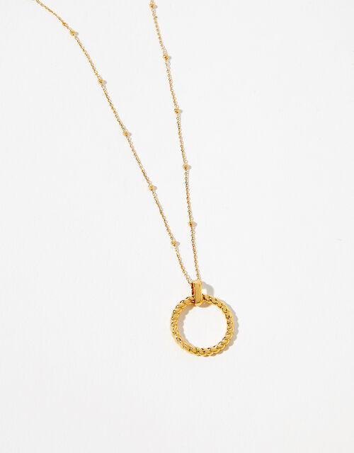 Gold-Plated Rope Circle Pendant Necklace, , large