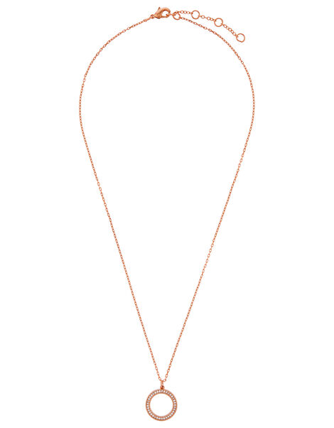 Rose Gold-Plated Pave Circle Necklace, , large