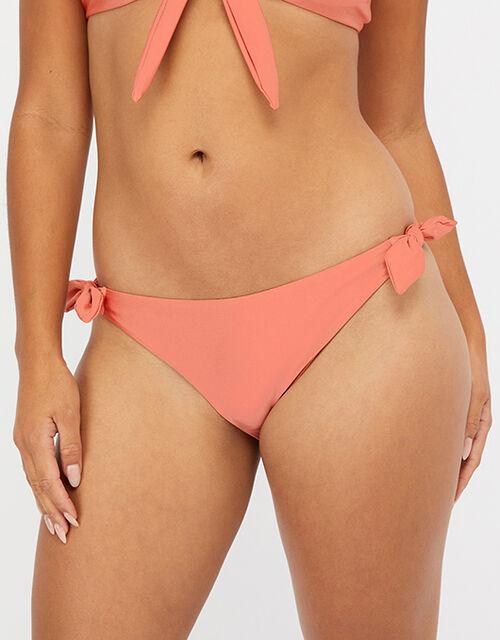 Tie Side Bikini Briefs, Orange (CORAL), large