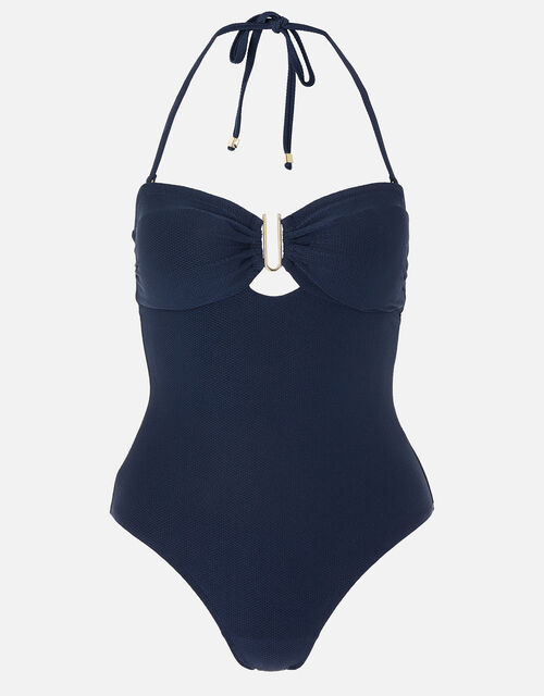 Bobbi Bandeau Swimsuit with Detachable Straps, Blue (NAVY), large