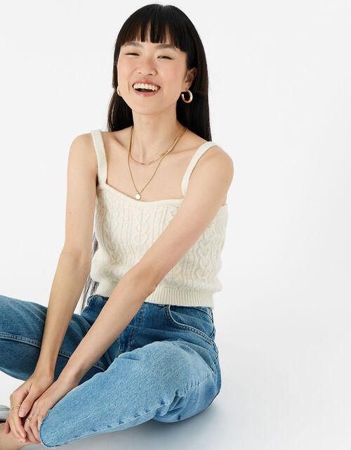 LOUNGE Knit Vest , Cream (CREAM), large