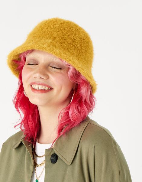 Fluffy Bucket Hat Yellow, Yellow (OCHRE), large