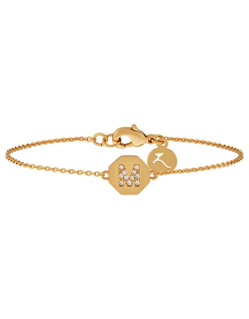 M Initial Hexagon Bracelet, , large
