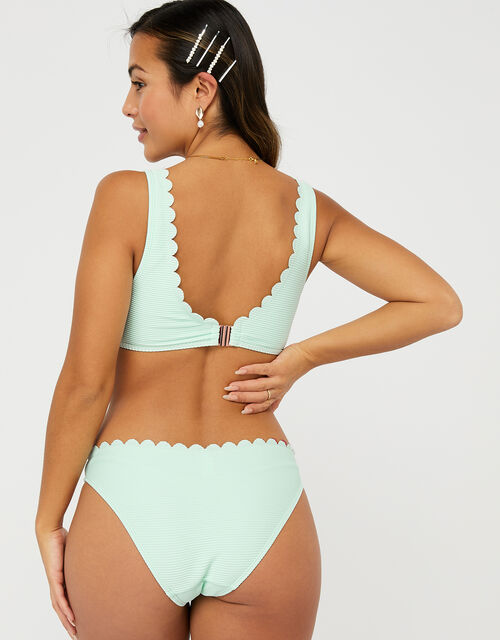 Button Front Bikini Top with Scalloped Edge, Blue (AQUA), large