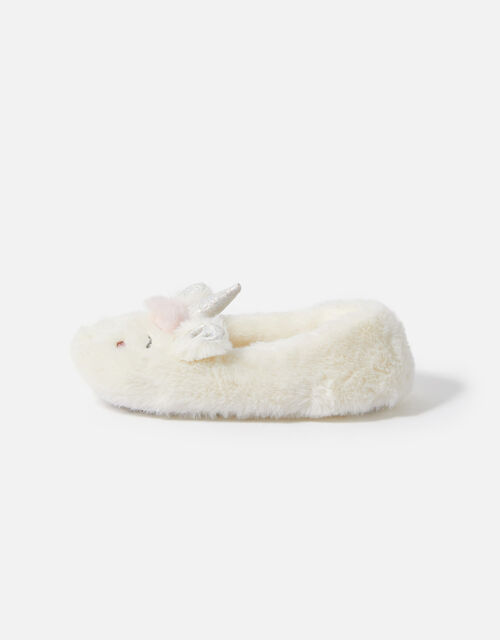 Girls Unicorn Character Slippers, Natural (IVORY), large