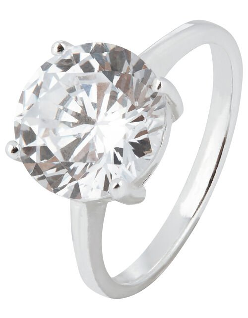 Sterling Silver Round Cut Solitaire Ring, White (ST CRYSTAL), large