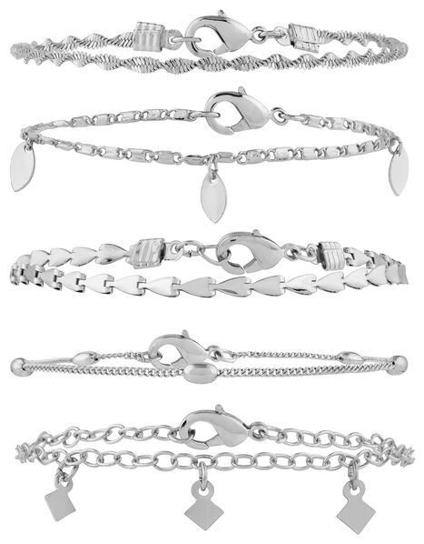 5x Delicate Chain Bracelet Pack Silver, Silver (SILVER), large