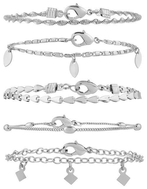 5x Delicate Chain Bracelet Pack, Silver (SILVER), large