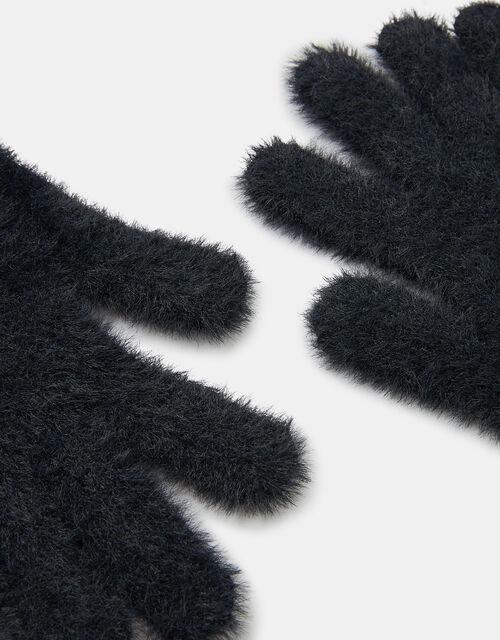 Super-Stretch Fluffy Knit Gloves, Black (BLACK), large