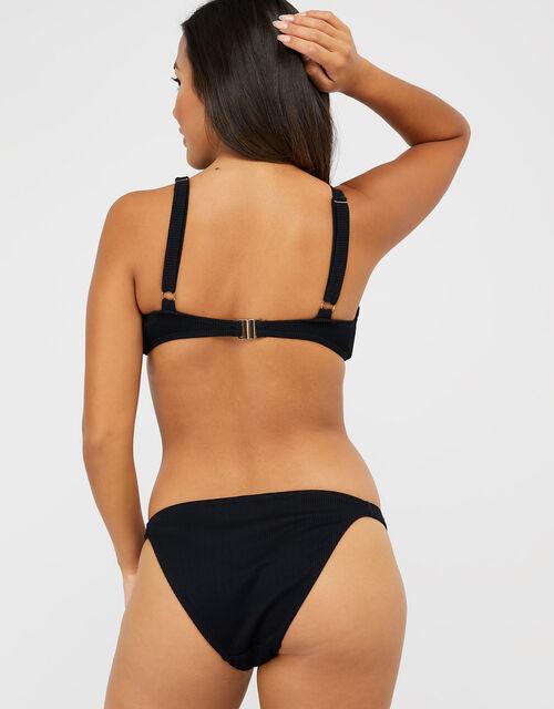 Ribbed Bikini Briefs with Rings, Black (BLACK), large