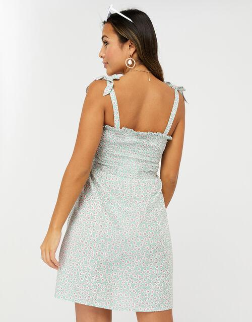 Daisy Print Button Dress, Blue (AQUA), large