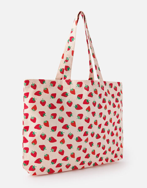 Strawberry Print Canvas Shopper Bag , , large