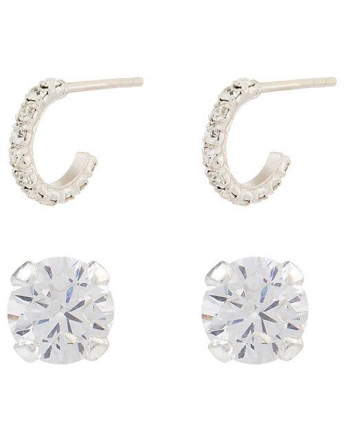 Sterling Silver Diamante Stud and Mini Hoop Earring Set, , large