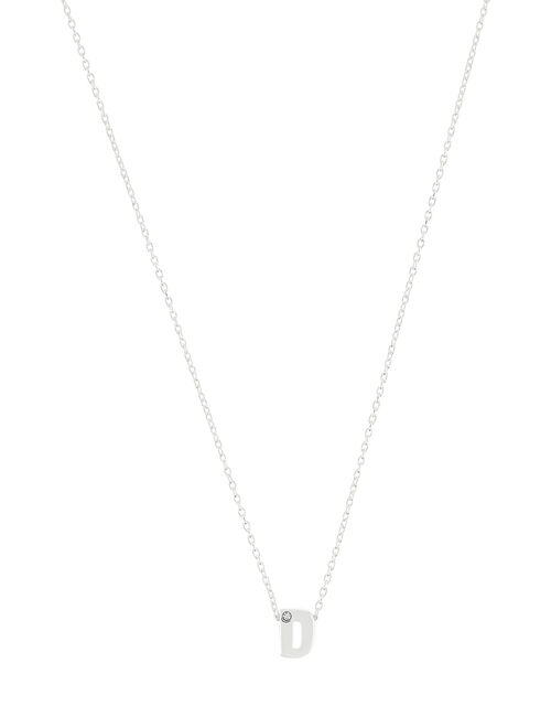 Sterling Silver Sparkle Initial Necklace - D, , large