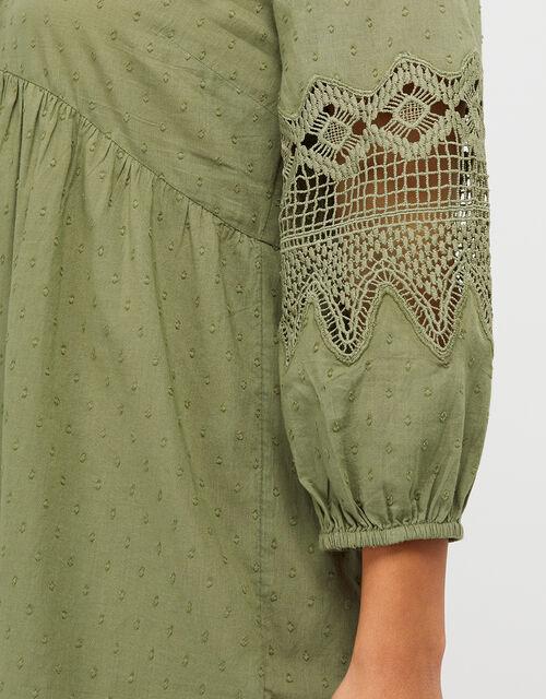 Lace Insert Smock Dress in Organic Cotton, Green (KHAKI), large