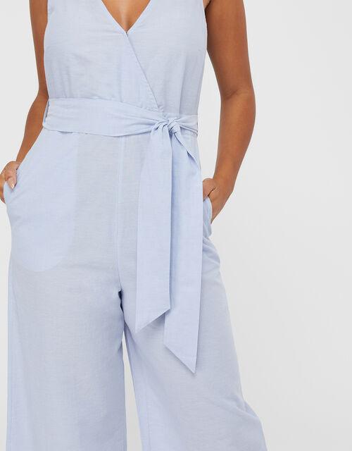 Tie Belt Jumpsuit, Blue (BLUE), large