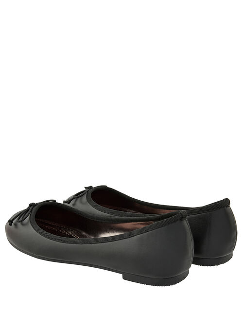 Bow Ballerina Flat Shoes, Black (BLACK), large