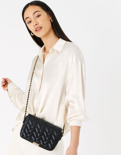 Quinn Quilted Chain Cross-Body Bag  Black, Black (BLACK), large