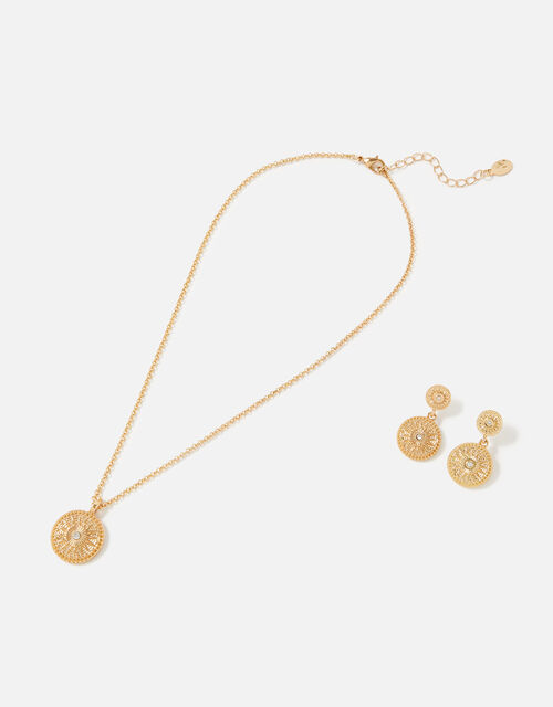 Berry Blush Coin Necklace and Earring Twinset, , large