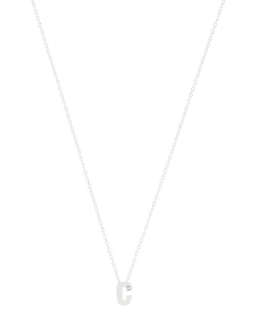 Sterling Silver Sparkle Initial Necklace - C, , large