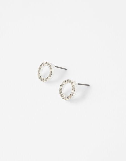 Pave Circle Stud Earrings, , large