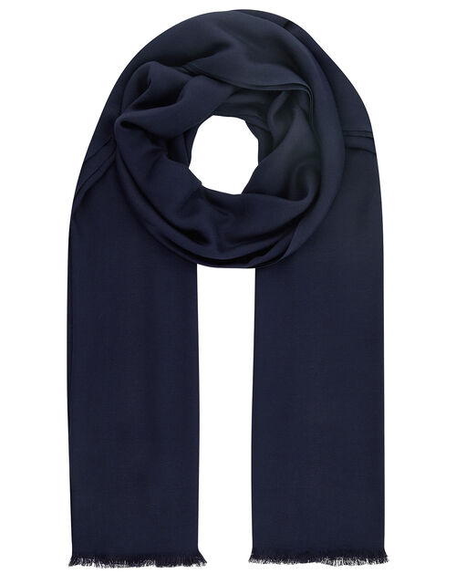 Plain Woven Scarf, Blue (NAVY), large