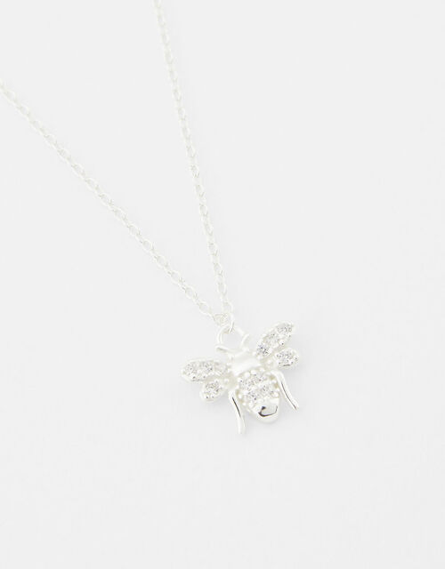 Sterling Silver Sparkle Bee Necklace, , large