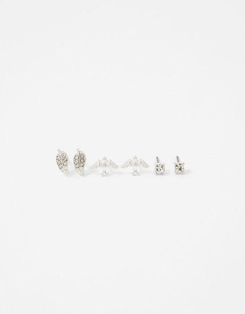 Sparkle Bird and Leaf Stud Earring Set, , large