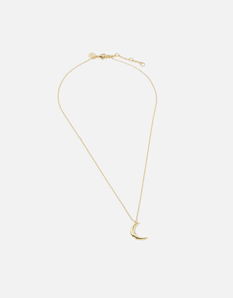 Gold-Plated Crescent Moon Pendant Necklace, , large