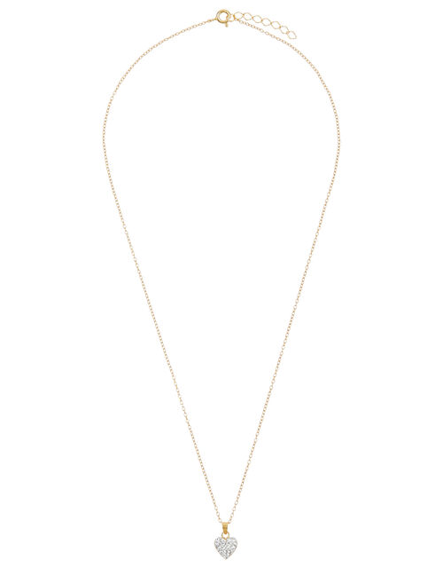 Gold-Plated Sparkly Heart Necklace, , large