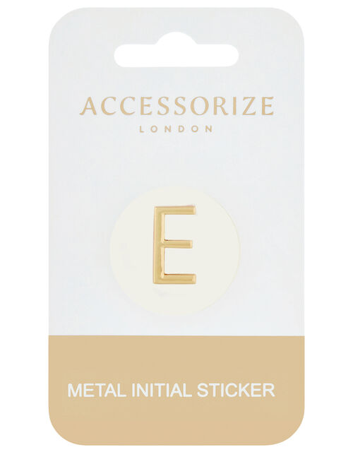 Metallic Initial Sticker - E, , large