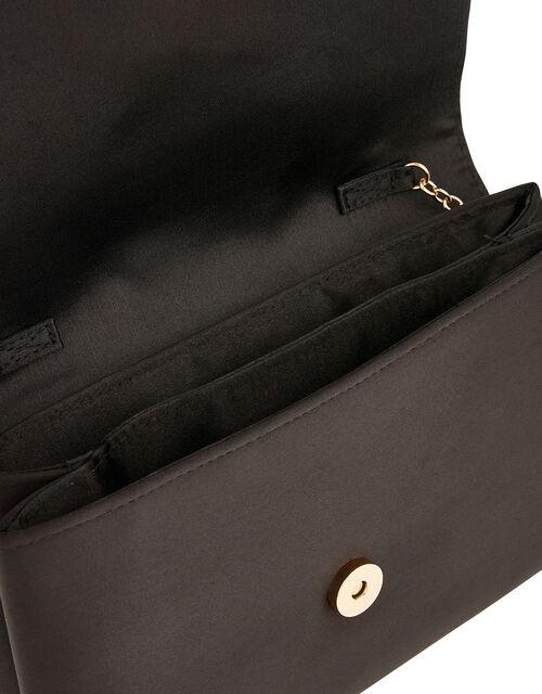 Satin Clutch Bag, Black (BLACK), large